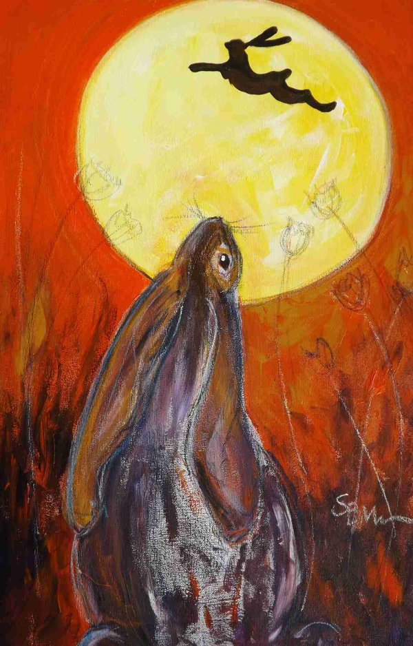 hare and the moon a commision by Suzy Billing-Mountain