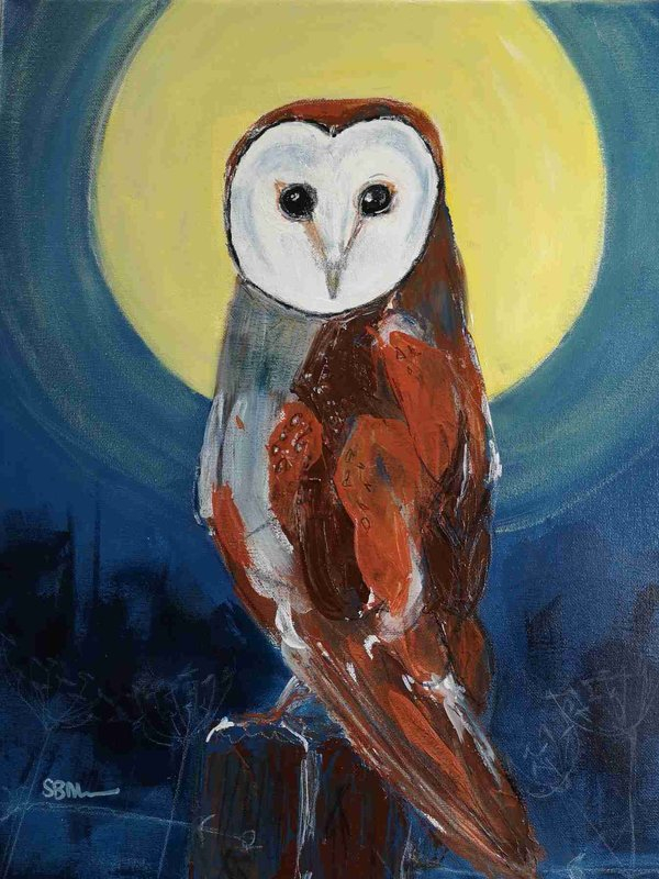 Owl By Night Acrylic mixed media by suzy billing-Mountain