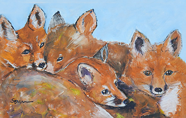 Little foxes Acrylic canvas by Suzy Billing-Mountain
