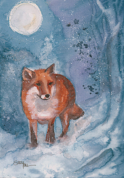 Winter Fox Watercolour and Wax Original framed