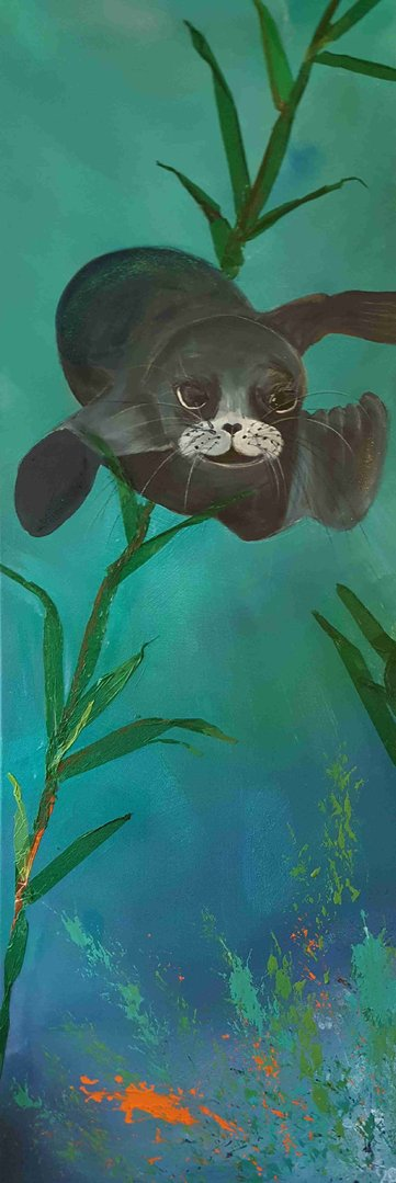 (Cornish seal)  A Seal swimming underwater Original Mixed media by Suzy Billing-Mountain