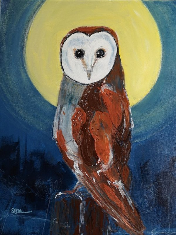 Owl by Night mixed media canvas Original Art Work